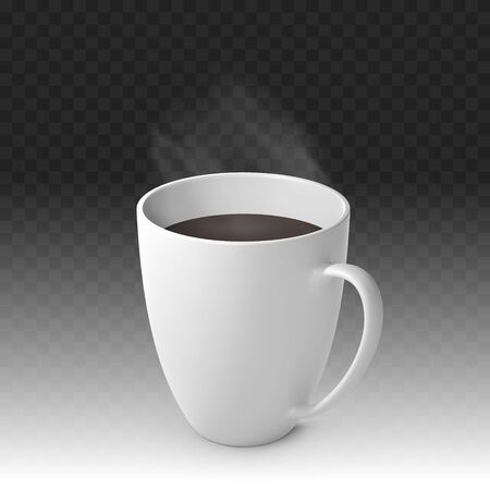 Realistic Vector Steaming Hot Cup of Coffee