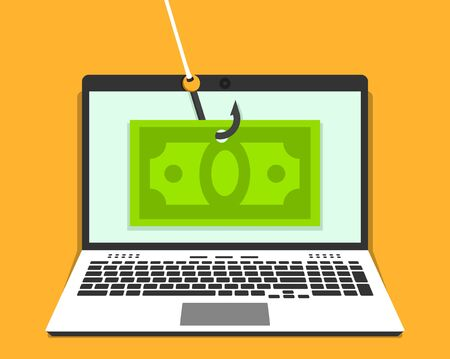 Laptop with money bill on hook on the screen. Phishing concept. Vector illustration in flat style