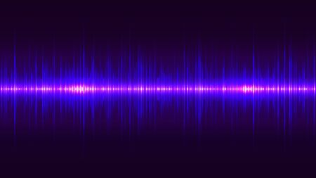 Purple neon sound wave, pulse of audio signal. Abstract spectrum equaliser