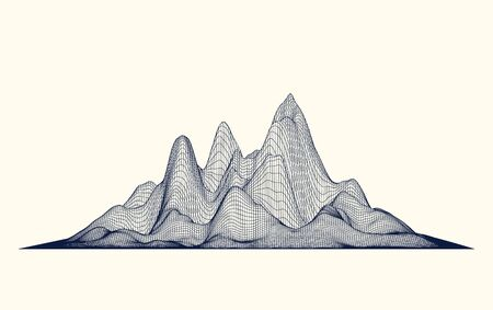 Abstract vector futuristic wireframe mountains. Cyberspace grid
