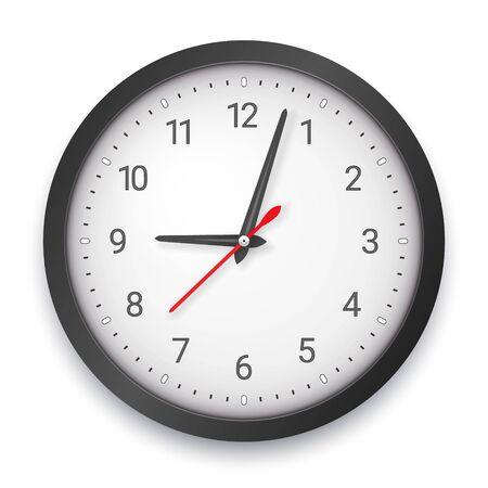 Modern Dark Quartz Wall Clock on White Background Ilustração