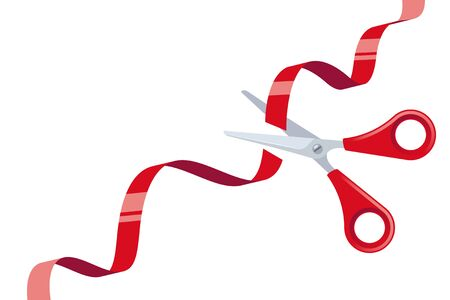 Cut Red Ribbon and Stainless Steel Scissors with Red Handles over White Background