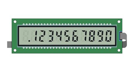 Calculator lcd display and digital numbers, vector template