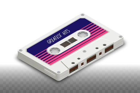 Isometric Realistic Isolated White Compact Cassette - 80s Retro Ilustrace
