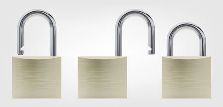 Realistic Closed and Opened Brass Padlock Vector Illustration, Front View