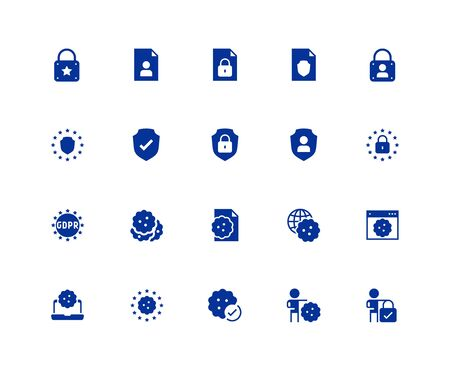 GDPR privacy policy vector icon set in glyph style. 48x48 pixel perfect Ilustração