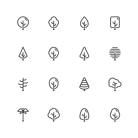 Vector icon set of trees in outline style
