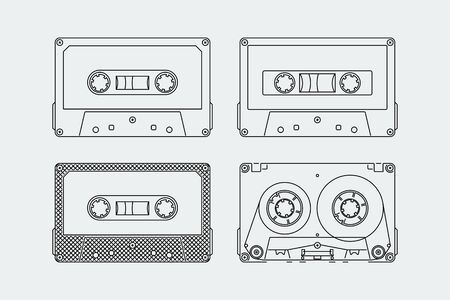 Silhouettes of compact audio cassettes or tapes in outline style Ilustrace