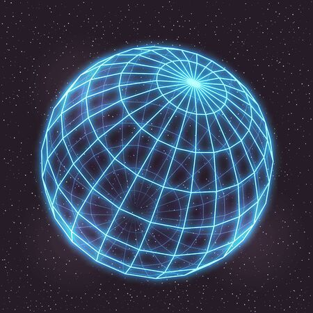 Vector Retro Futuristic Illustration in Style of 80s. Laser Neon Mesh Globe in Outer Space