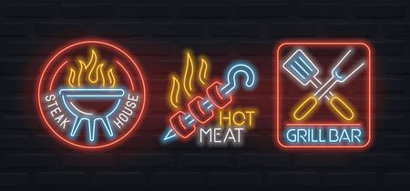 Neon signs of barbecue, grill bar and steak house