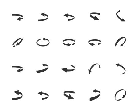 Turning Arrows Vector Icon Set in Glyph Style