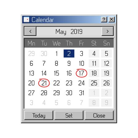 Calendar Application in Style of Old, Retro Operating System 일러스트