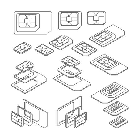 Three Types of SIM Card - Standard, Micro and Nano. Top and Isometric Views. Vector Illustration in Outline Style 向量圖像
