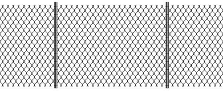 Rabitz Chain Link Fence with Poles, Seamless Pattern