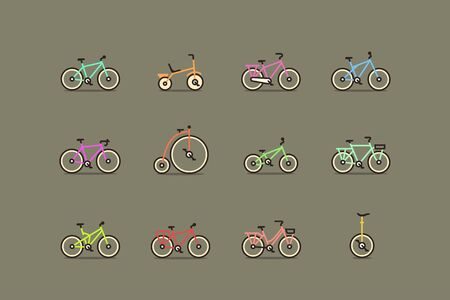 Isolated bicycles, colorful vector icon set in line style Stock Illustratie