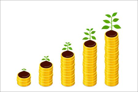 Growing columns of coins and growing plant on top of them, savings concept. Vector isometric illustration