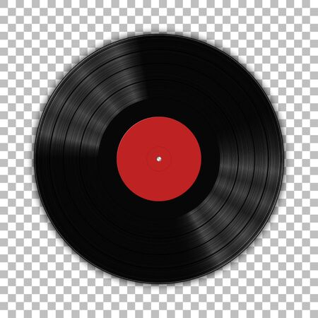 Gramophone vinyl LP record template isolated on checkered background. Vector illustration Stock fotó - 150401463