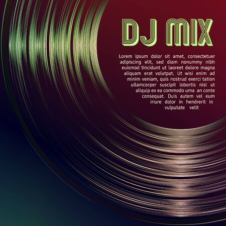 DJ mix vinyl cover with vinyl grooves