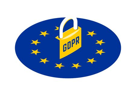 GDPR - General Data Protection Regulation. Yellow padlock on round EU flag. Vector isometric illustration Vettoriali