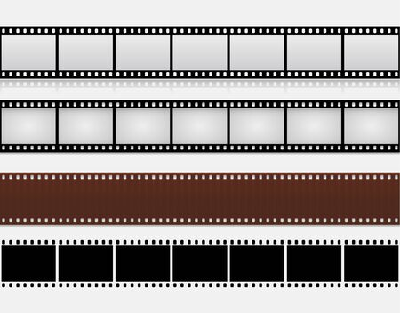 Isolated Filmstrips 35mm in Different Styles on White Background