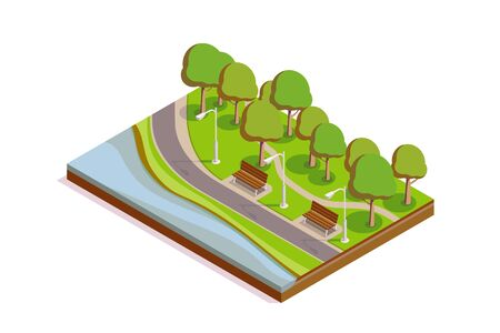 Isometric Public City Park Section with Benches, Postlamps, Lane, Pond and Trees