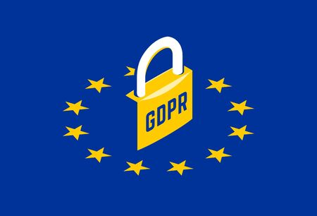 GDPR - General Data Protection Regulation. Yellow padlock on EU flag. Vector isometric illustration Vettoriali