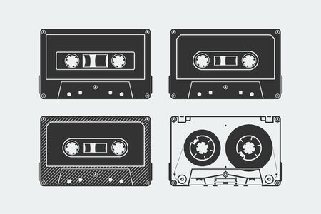Silhouettes of compact audio cassettes or tapes Ilustrace