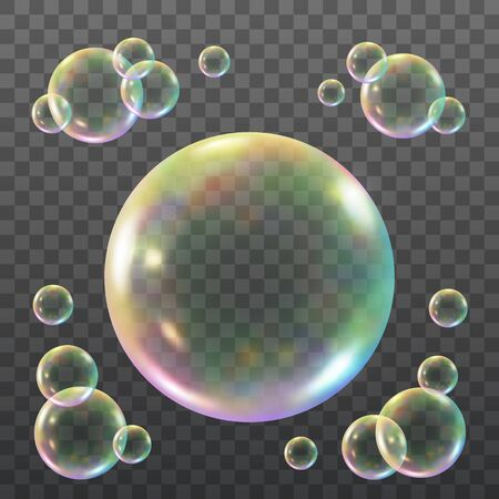 Vector Iridescent Shiny Soap Bubbles Over Checkered Background