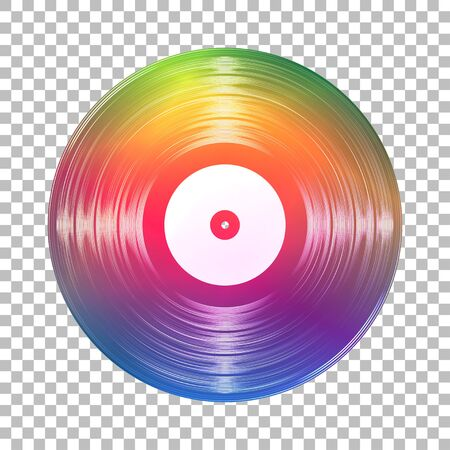 Gramophone rainbow vinyl LP record template isolated on checkered background. Vector illustration