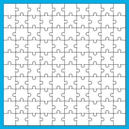 Vector Illustration of White Jigsaw Puzzle, Separate Pieces with Black Editable Stroke 일러스트
