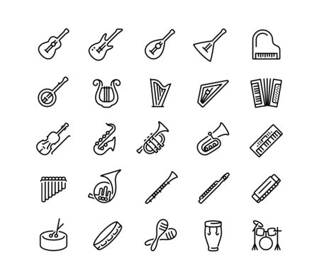 Musical instruments vector icon set in outline style Vettoriali