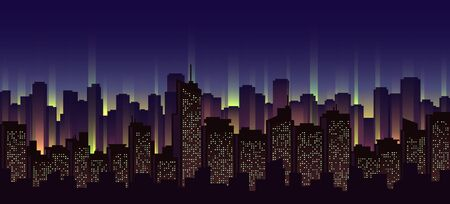 Urban neon landscape, nighttime cityscape vector illustration