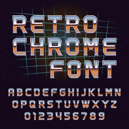 Vector retro 80's chrome latin font with numbers