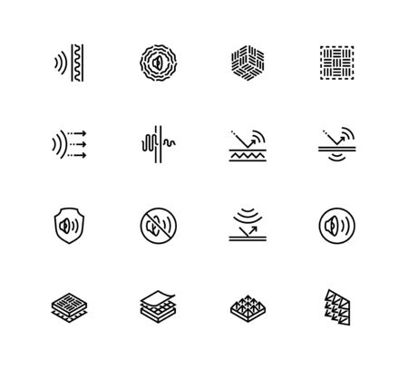 Acoustics and Acoustical Properties of Materials. Vector Icon set in Outline Style Stock fotó - 150401553