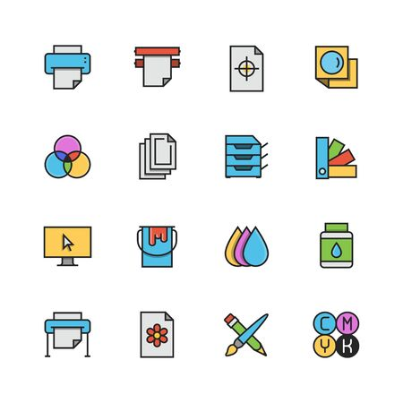 Printing vector icon set in colorful outline style