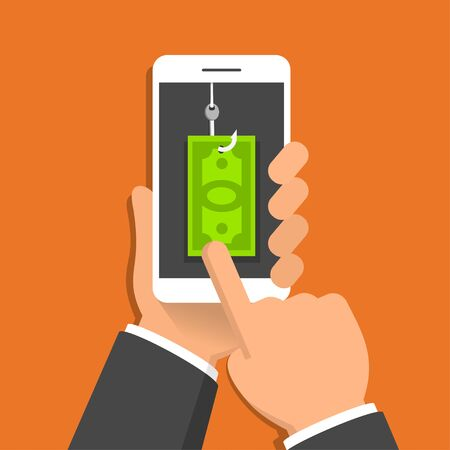 Hand holding smartphone with money bill on hook on the screen. Phishing concept. Vector illustration in flat style Illusztráció