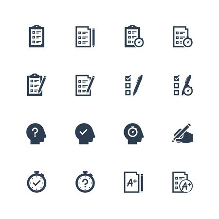 Quiz related vector icon set in glyph style