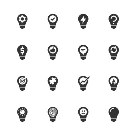 Light Bulb Concept Icons in Glyph Style Illustration