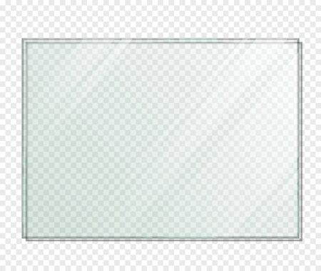 Rectangle Piece of Glass with Shadow. Vector Illustration