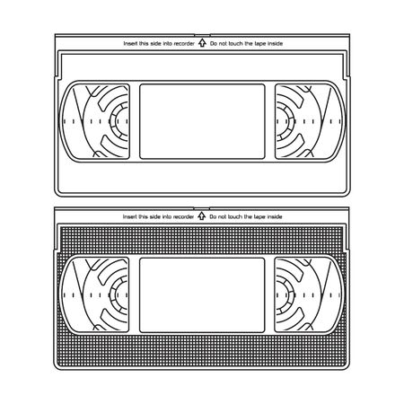 Outlined Silhouettes of a Video Recorder Tape. Video Cassettes Isolated on a White Background