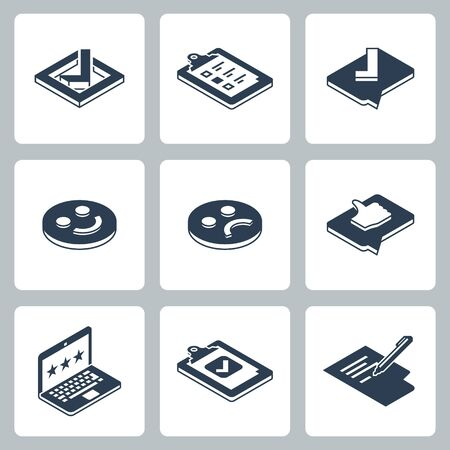Customer Testimonials, Feedback and User Experience Vector Icon Set in Isometric Style