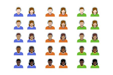 Support Managers Icon Set in Flat Style with Five Skin Tones
