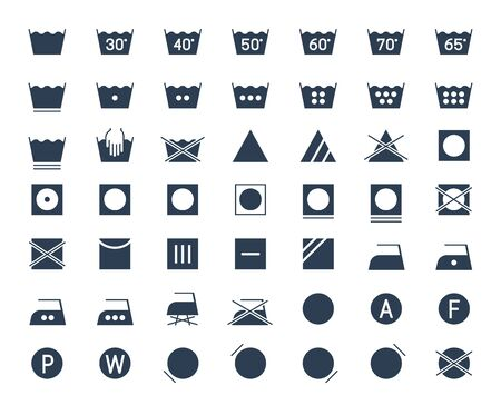 Icon set of laundry and textile care symbols and signs
