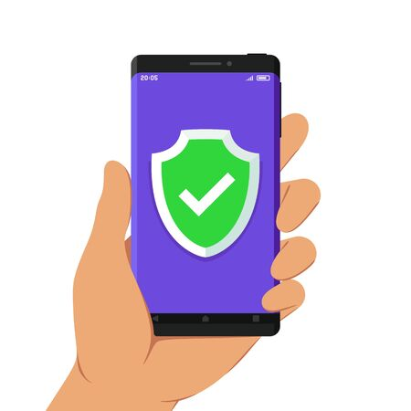 Hand Holding Smartphone with Green Shield and Check Mark on Its Screen, Flat Design Style Illustration