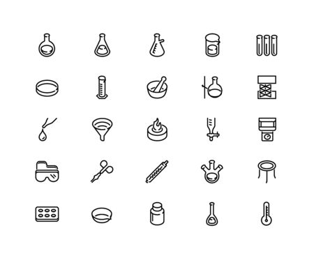 Icon Set of Chemistry Lab Equipment. Outline Style. 48x48 Pixel Perfect