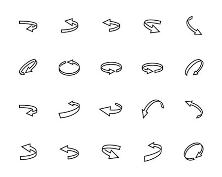 Turning Arrows Vector Icon Set in Outline Style Vettoriali