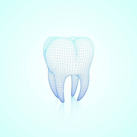 Light Blue Abstract Vector Wireframe Polygonal Mesh Tooth With Reflection, Three-Quarter Front Angle View