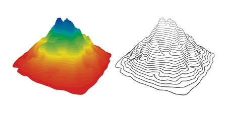 Vector illustration of mountain topography over white