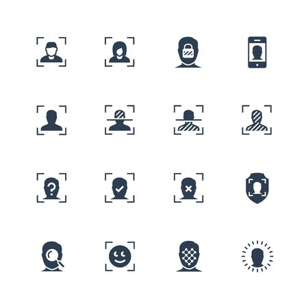 Face scanning and recognition vector icon set Stock Illustratie