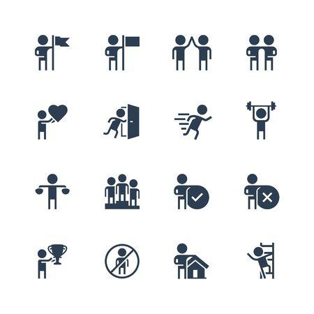 Personal and Business Concepts Vector Icon Set in Glyph Style Vektoros illusztráció